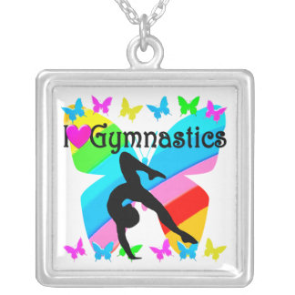 BEAUTIFUL I LOVE GYMNASTICS DESIGN SILVER PLATED NECKLACE
