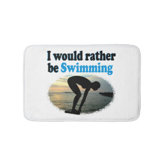 BEAUTIFUL I WOULD RATHER BE SWIMMING GIRL DESIGN BATH MAT