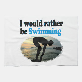 BEAUTIFUL I WOULD RATHER BE SWIMMING GIRL DESIGN KITCHEN TOWELS