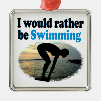 BEAUTIFUL I WOULD RATHER BE SWIMMING GIRL DESIGN Silver-Colored SQUARE ORNAMENT