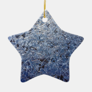 Beautiful Ice Crystals Close-up Ceramic Star Ornament