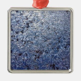Beautiful Ice Crystals Close-up Silver-Colored Square Ornament