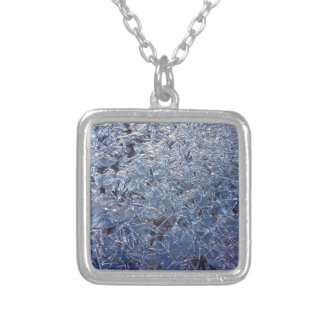 Beautiful Ice Crystals Close-up Silver Plated Necklace