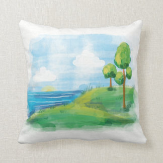 Beautiful idyllic Summer Landscape Throw Pillow