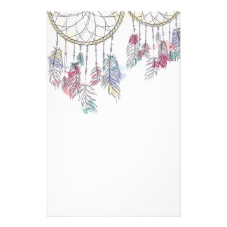 Beautiful Illustrated Dreamcatchers with Feathers Stationery
