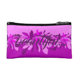 Beautiful in Pink and Purple Floral Personalized Makeup Bag
