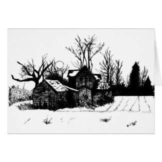 Beautiful Ink Drawing of Farmhouse in Winter Card