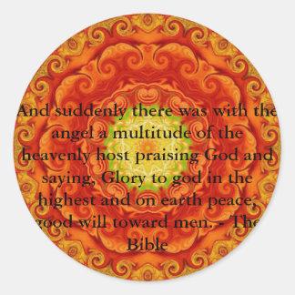 Beautiful Inspiring Biblical Angel  Quote Round Sticker