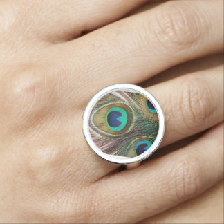Beautiful Iridescent Peacock Feather Ring