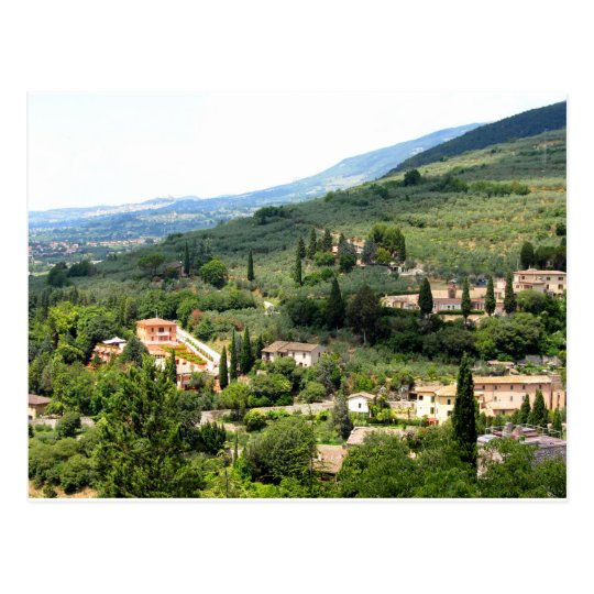 Beautiful italian landscape from Spello - Umbria Postcard