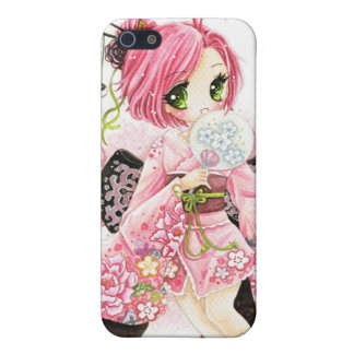Beautiful Japanese girl in Kimono Case For iPhone 5/5S