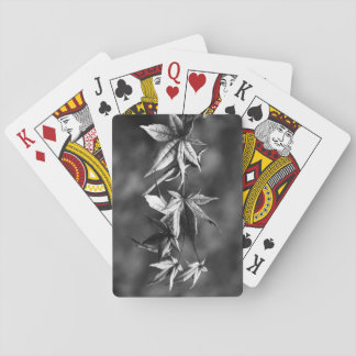 Beautiful Japanese Maple Leaf Portrait in B/W Playing Cards