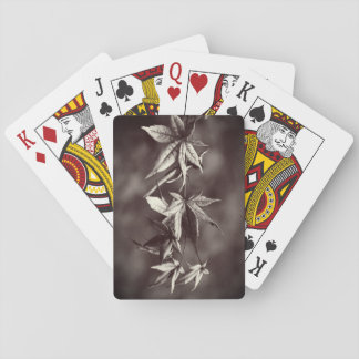 Beautiful Japanese Maple Leaf Portrait Sepia Playing Cards