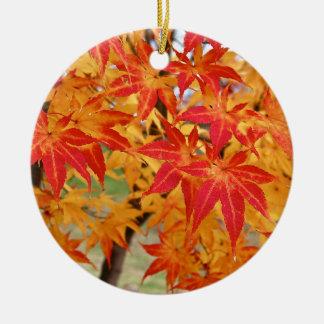 beautiful japanese maple tree in fall ceramic ornament