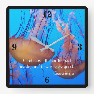 Beautiful Jellyfish Bible Verse Wall Clock