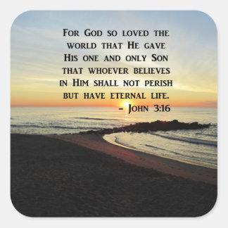 BEAUTIFUL JOHN 3:16 SCRIPTURE SUNRISE PHOTO SQUARE STICKER