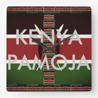 Beautiful Kenya Pamoja Square Wall Clock