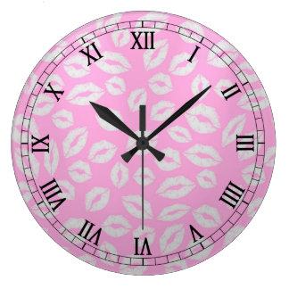 beautiful kiss lips love on pink backgraund clocks