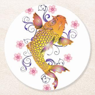 Beautiful Koi Round Paper Coaster
