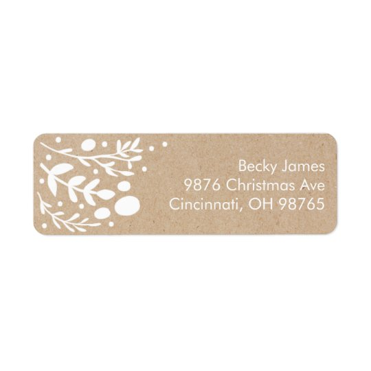 Beautiful Kraft Foliage Christmas Address Labels