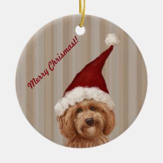 Beautiful Labradoodle Love Dog Custom Text Ceramic Ornament