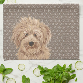 Beautiful Labradoodle Love Dog Paw Painting Beige Kitchen Towel