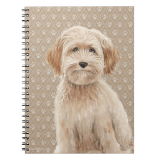 Beautiful Labradoodle Love Dog Paw Painting Print Notebook