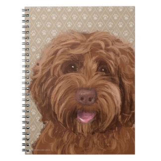 Beautiful Labradoodle Love Dog Paw Painting Print Spiral Notebooks