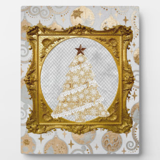 Beautiful Lace and Snowflake Tree Framed in Gold Plaque