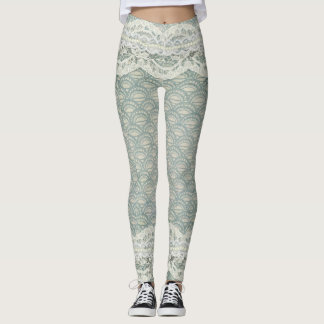 Beautiful Lace Pearls Blue Green Legging Easter