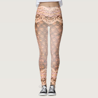 Beautiful Lace Pearls Peach Pink Legging Easter