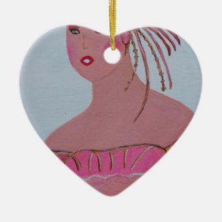 Beautiful Lady 3.JPG Ceramic Heart Ornament