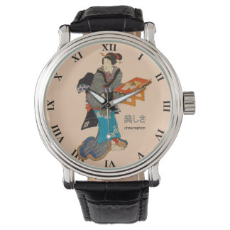 Beautiful Lady Japanese Print 1 Utagawa Kunisada Wristwatch