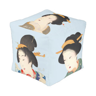 Beautiful Lady Japanese Prints by Utagawa Kunisada Pouf