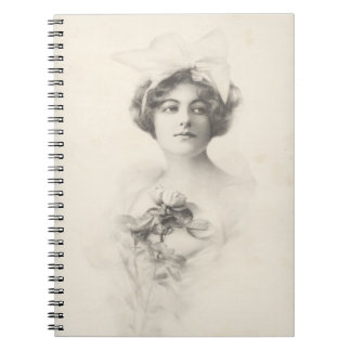 Beautiful Lady with a Rose Notebook