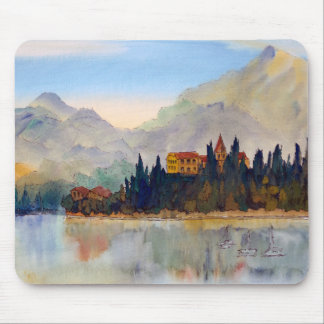 Beautiful Lake Como Landscape Watercolor Mouse Pad