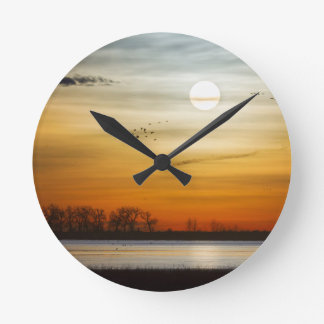 Beautiful Lake Morning Round Clock
