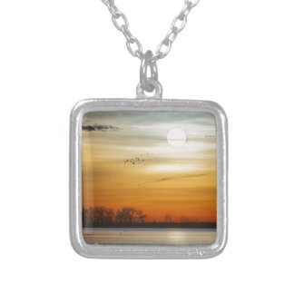 Beautiful Lake Morning Silver Plated Necklace