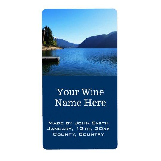 beautiful lake, mountain, blue sky wine labels.