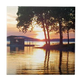 Beautiful Lake Sunset Water Reflection Photography Ceramic Tile