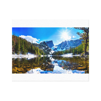 Beautiful Lakeside Mountain Landscape Canvas Print
