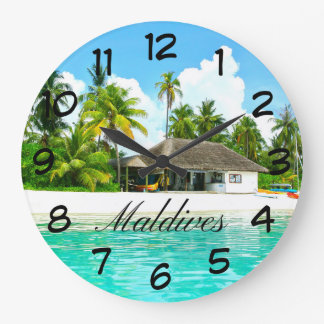 Beautiful Landscape Of Maldives Large Clock