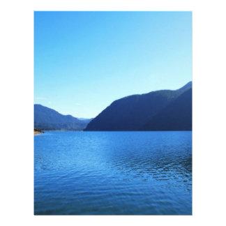 beautiful landscape photography of blue sky, lake, letterhead design