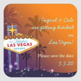 Beautiful Las Vegas Wedding Save the Date Square Sticker