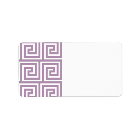 Beautiful Lavender and White Greek Key Pattern Label