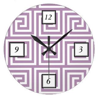 Beautiful Lavender and White Greek Key Pattern Large Clock
