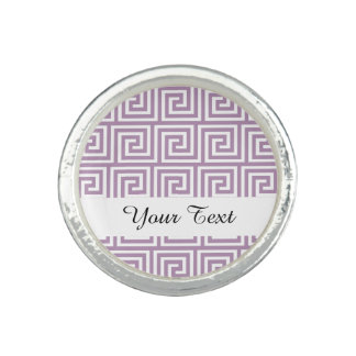 Beautiful Lavender and White Greek Key Pattern Photo Rings