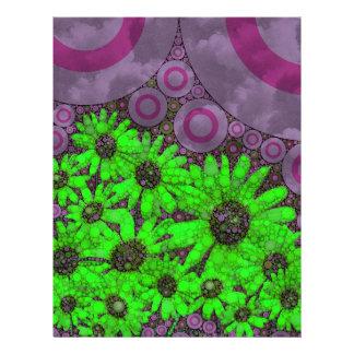Beautiful Lavender Florescent Sunflowers Letterhead Design