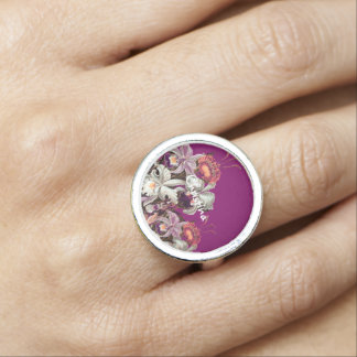 Beautiful Lavender Vintage Flowers Ring