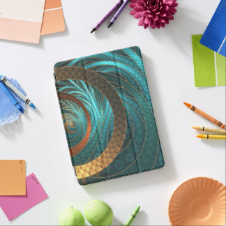 Beautiful Leather & Blue Turquoise Fractal Jewelry iPad Pro Cover